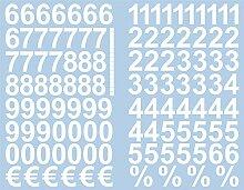 Weisse Zahlen Aufkleber 3cm Hoch - 117 KLEBEZAHLEN
