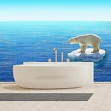 Weißer Eisbär Wandbild Blaues Meer Foto-Tapete