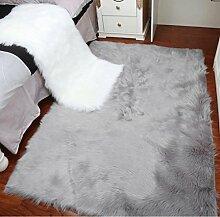 Weißer flaumiger runder Shaggy-Bereich Teppich-Teppiche für Wohnzimmer-Teppich-Kinderraum-lange Plüsch-Matten, 60 * 90cm, hellgrau