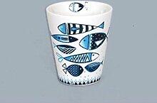 Weißer Keramikbecher mit blauem Fisch-Design, 7,4