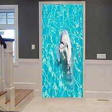 Weißer kleiner Delphin Tür Tapete selbstklebend