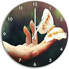 weißer Schmetterling Bild auf Wanduhr mit weißen