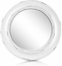 Weißer Shabby Chic Spiegel Rund – Massivholz – Handgefertigt – Landhausstil – Groß – 66 cm Durchmesser - Vintage Weiß