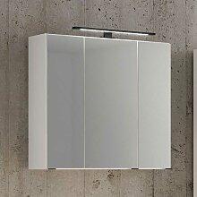 Weißer Spiegelschrank mit 3 Türen LED Beleuchtung