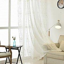 Weißer Stickerei Vorhang,Baumwollleinen