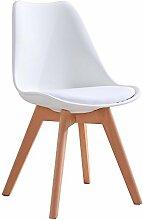 Weißer Stuhl mit massiven Holzbeinen und