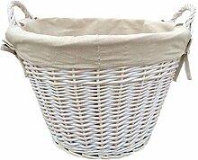 Weißer Wäsche-Baumwollgefütterter Korb