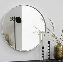 Weißer Wandspiegel aus Stahl rund