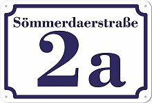 weißes Hausnummer und Straße Schild 2mm