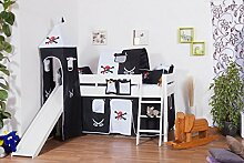 weißes Hochbett für Kinder mit Rutsche und Turm - Buche Massivholz 90x200 cm