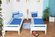 weißes Kinder Etagenbett - Buche massiv 90x200