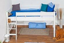 weißes Kinder Hochbett - Buche Massivholz 90x200 cm