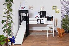 weißes Kinder Hochbett mit Rutsche und Turm - Buche Massivholz 90x200 cm