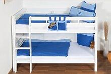 weißes Kinder Stockbett - Buche massiv 90x200 cm,