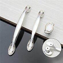 Weißes modernes Möbel Türgriffe europäischen Küchenschrank Schrank mit Schubladen zieht einfach Zinklegierung Schließfach Schrank Knöpfe, 96 mm