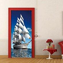 Weißes Segelboot Tür Tapete selbstklebend