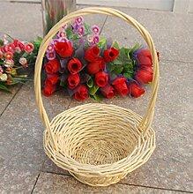 Weiye&l Wicker Woven Obst und Blumen Korb mit Griff , klein , brown