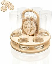 Weizenbierglas Set 6 Gläser + Holz Bierdeckel