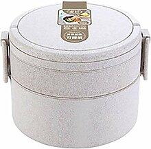 Weizenstroh-Material Lunch Box mit Geschirr