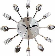 WEIZQ Wanduhr Metall Lautlos Vintage Besteck Uhr Besteckuhr Küchenuhr Wanduhr Analoger Uhr
