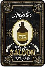 "Welcome to Anjali 's Old West Saloon–Bar Pub Schild aus Western, plastik, 8"""" x 12"""" (20.3cm x 30.5cm)"
