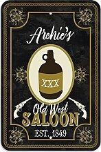 "Welcome to Archie 's Old West Saloon–Bar Pub Schild aus Western, plastik, 12"""" x 18"""" (30.5cm x 45.7cm)"