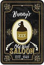 "Welcome to Bunny 's Old West Saloon–Bar Pub Schild aus Western, plastik, 8"""" x 12"""" (20.3cm x 30.5cm)"
