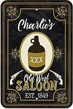 """Welcome to Charlie 's Old West Saloon–Bar Pub Schild aus Western, plastik, 12"""""""" x 18"""""""" (30.5cm x 45.7cm)"""