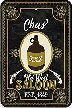 "Welcome to Chas 'Old West Saloon–Bar Pub Schild aus Western, plastik, 8"""" x 12"""" (20.3cm x 30.5cm)"