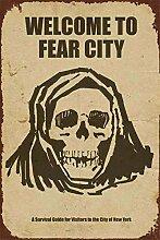 Welcome to Fear City Blechschild Retro Blech