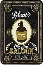 "Welcome to Lilian 's Old West Saloon–Bar Pub Schild aus Western, plastik, 8"""" x 12"""" (20.3cm x 30.5cm)"