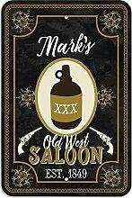 """Welcome to Mark 's Old West Saloon–Bar Pub Schild aus Western, plastik, 12"""""""" x 18"""""""" (30.5cm x 45.7cm)"""