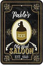 "Welcome to Pablo 's Old West Saloon–Bar Pub Schild aus Western, plastik, 8"""" x 12"""" (20.3cm x 30.5cm)"