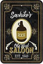 "Welcome to Sachiko 's Old West Saloon–Bar Pub Schild aus Western, plastik, 12"""" x 18"""" (30.5cm x 45.7cm)"