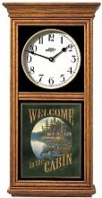 Welcome To The Cabin Oak Regulator Wall Clock by
