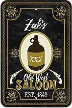 "Welcome to Zak 's Old West Saloon–Bar Pub Schild aus Western, plastik, 12"""" x 18"""" (30.5cm x 45.7cm)"
