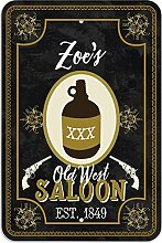 "Welcome to Zoe 's Old West Saloon–Bar Pub Schild aus Western, plastik, 8"""" x 12"""" (20.3cm x 30.5cm)"