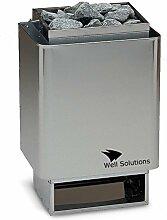 Well Solutions® Saunaofen 34A 6kW, Außenmantel Edelstahl, inkl. Saunasteine, Made in Germany