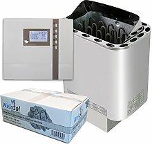 Well Solutions® Saunaofen Nordex Next 9 kW mit Sauna Steuerung EOS ECON D2 mit Zeitvorwahl Marke Well Solutions®