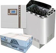 Well Solutions® Saunaofen Nordex Next 9 kW mit Sauna Steuerung EOS ECON D1 Marke Well Solutions®