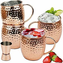 Wellead Moscow Mule Becher 4 Kupferbecher Set