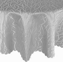 Wellen Damast Tafeldecke Rund 180 cm Farbe wählbar - Silber / Hellgrau