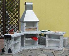 Wellfire Grillkamin / Gartenkamin Außenküche Toskana Edelstahl Eckversion