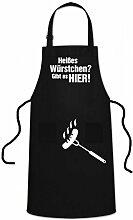 WELLGRO® Grillschürze - Heißes Würstchen - Grill Schürze schwarz - BBQ Grillzubehör - Kochschürze - Latzschürze - Küchenschürze