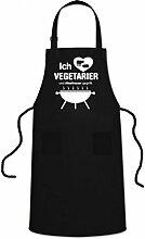 WELLGRO® Grillschürze - ICH LIEBE VEGETARIER - Grill Schürze schwarz - BBQ Grillzubehör - Kochschürze - Latzschürze - Küchenschürze