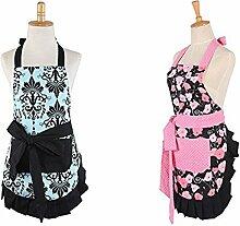 wellhome Damen Kochen Schürze Küche Schürze Backen Schürze mit zwei große Taschen vorne Beste Geschenk für Frau oder Damen pink floral