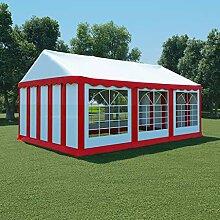WELLIKEA Gartenzelt PVC 4x6 m Rot und Weiß