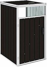 WELLIKEA Mülltonnenbox Braun 72×81×121 cm Stahl