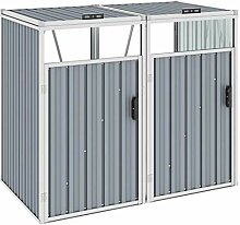 WELLIKEA Mülltonnenbox für 2 Mülltonnen Grau