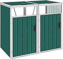 WELLIKEA Mülltonnenbox für 2 Mülltonnen Grün